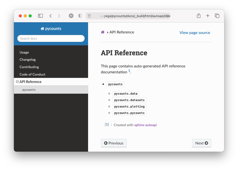 API reference for the `pycounts` package.