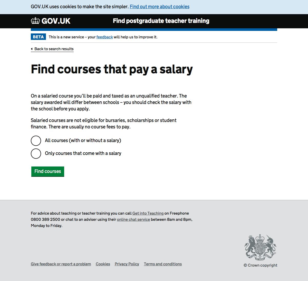 Screenshot of Salary filter