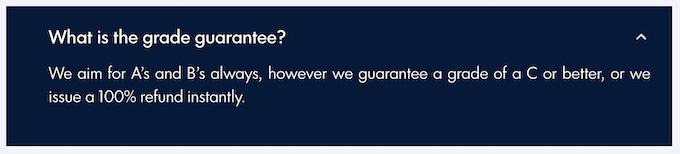 boostmygrade.com offers a grade guarantee