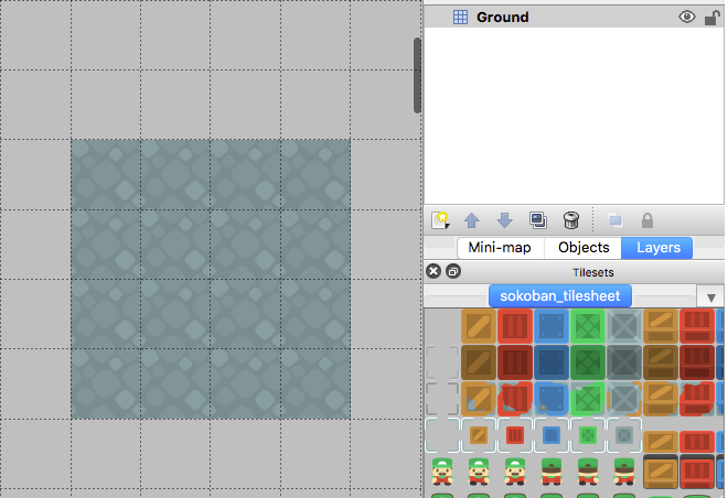 Tiled map editor with a 4x4 grid of ground tiles
