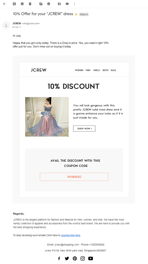 Jcrew 4th email template