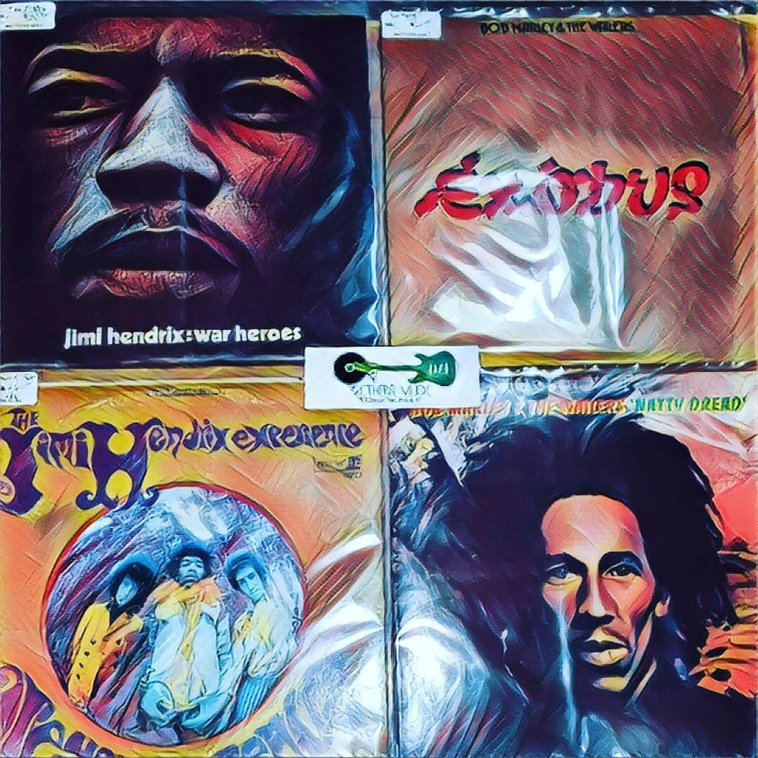 Collage of records. Jimi Hendrix and Bob Marley records.