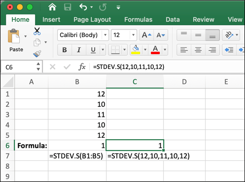 A Microsoft Excel worksheet showing the STDEV.S function being used