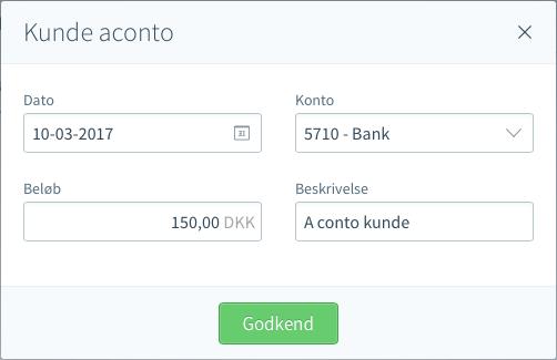aconto-betaling kunde