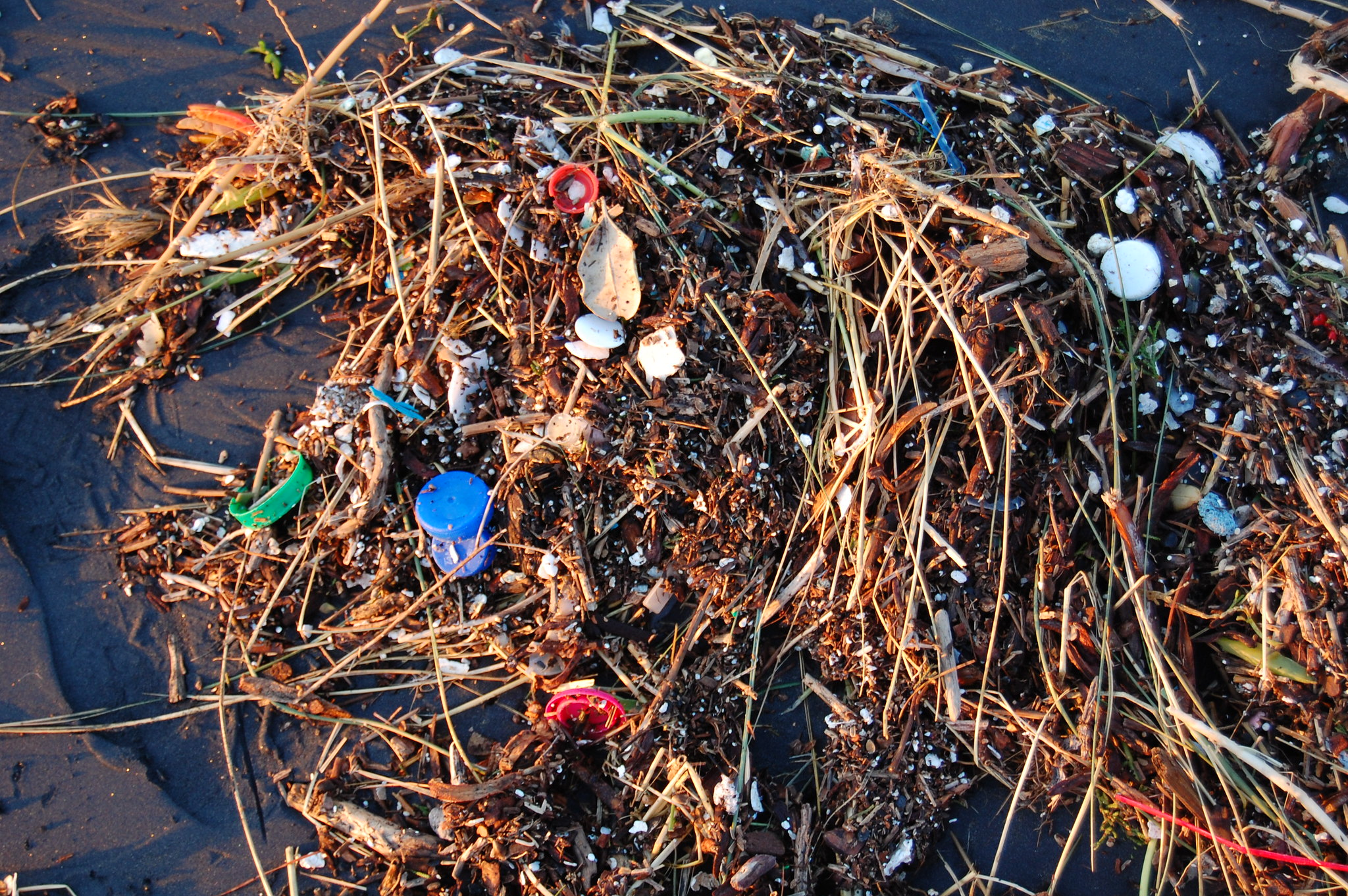 Plastic debris is washed up on a beach.