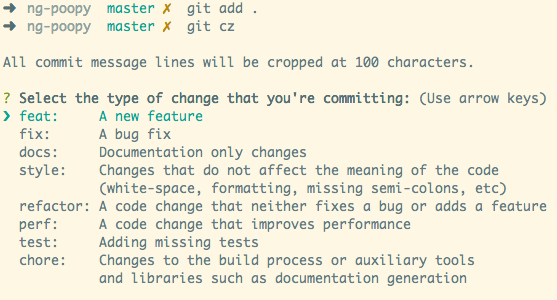 Semantic commit message using the command line