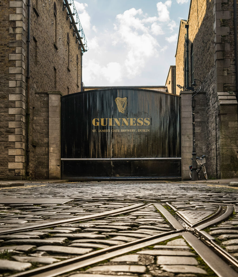 The famous gate at the Guinness Storehouse.