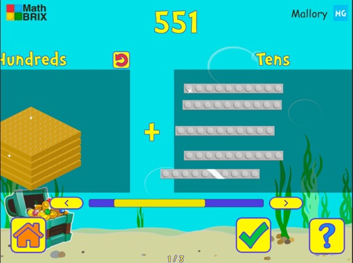 Represent numbers within 1000 using brix Math Game
