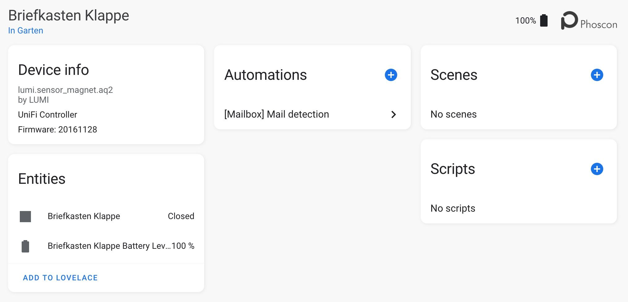 Mailbox sensors in Home Assistant
