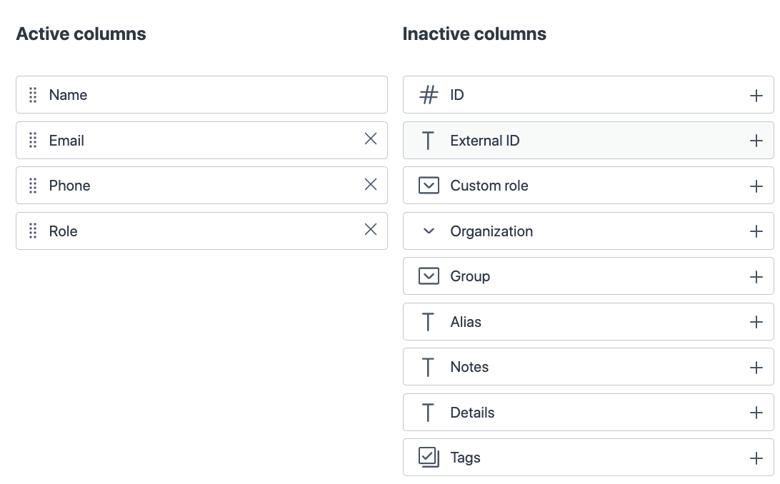 Adding, removing and reordering table columns