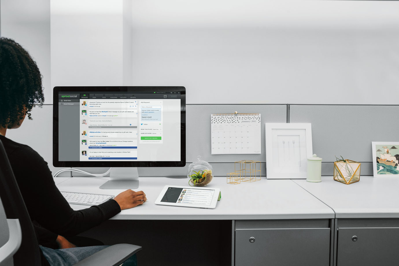 Someone using Sprout Social at their desk