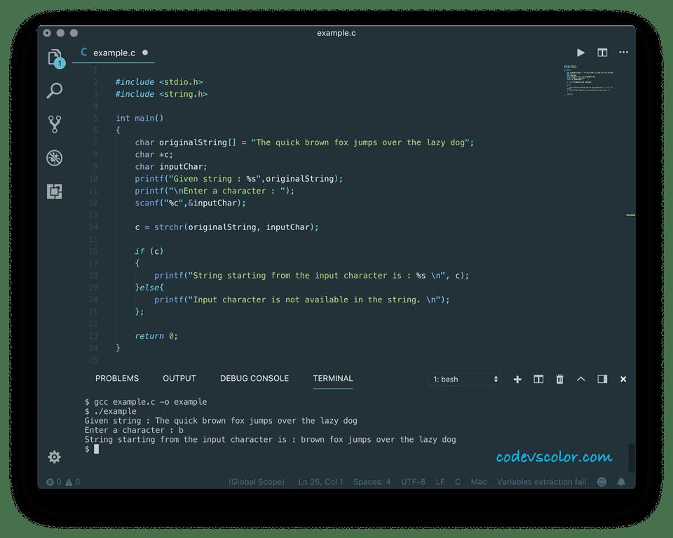 c programming strchr