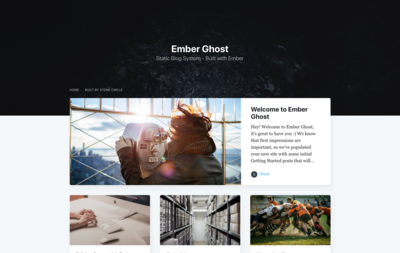 Screenshot of a page created with Ember Ghost Blog - Casper