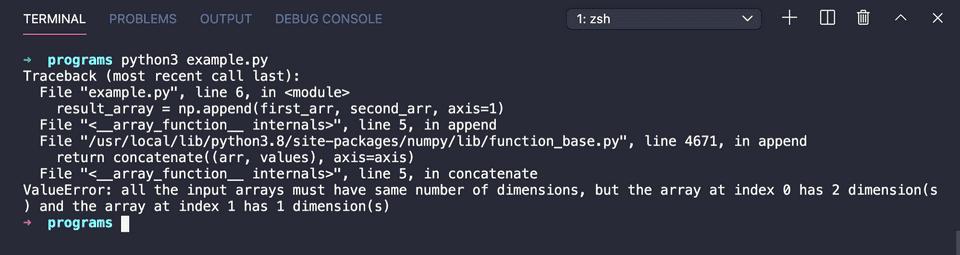 Python numpy append valueerror