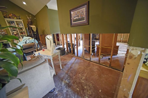 water damage from pipe leak