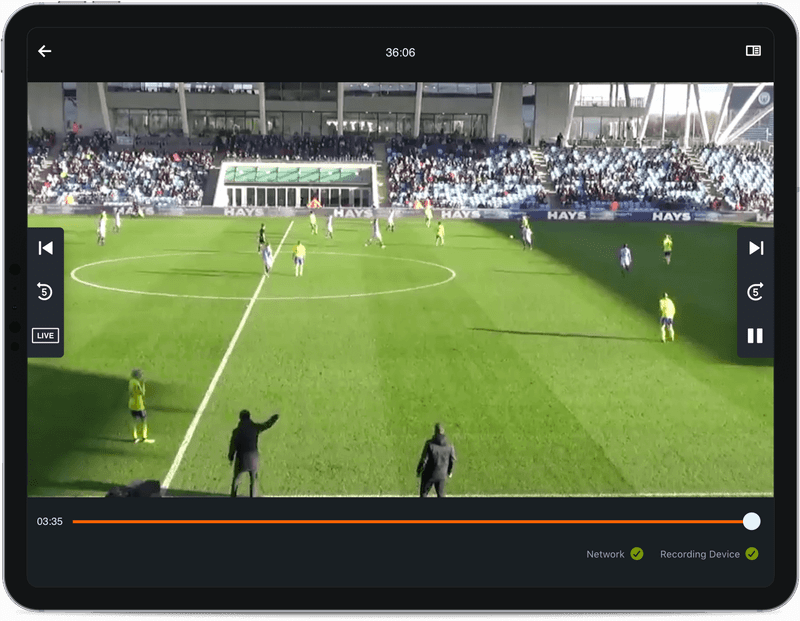 Soccer video footage on tablet
