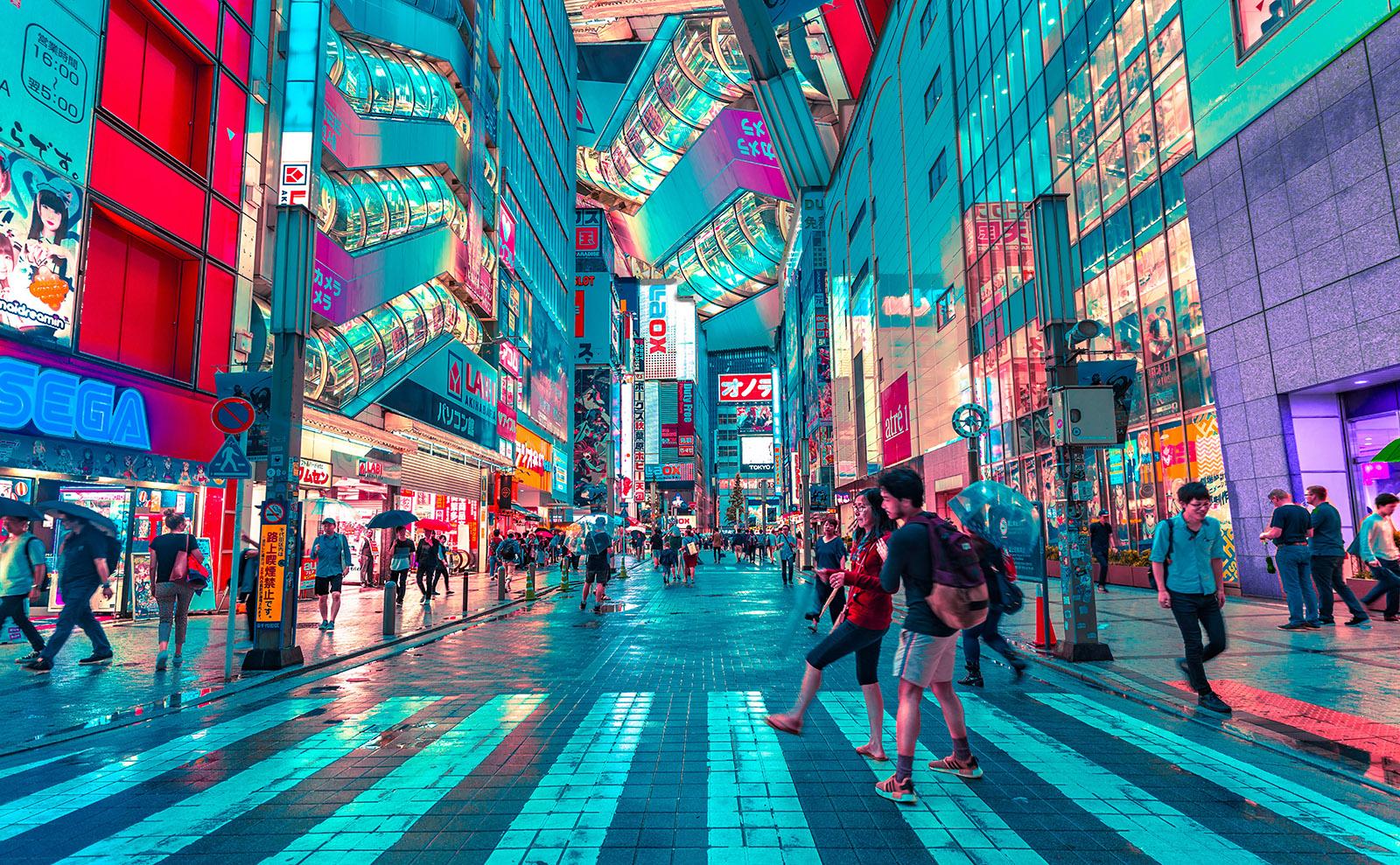neon-lit street in tokyo.
