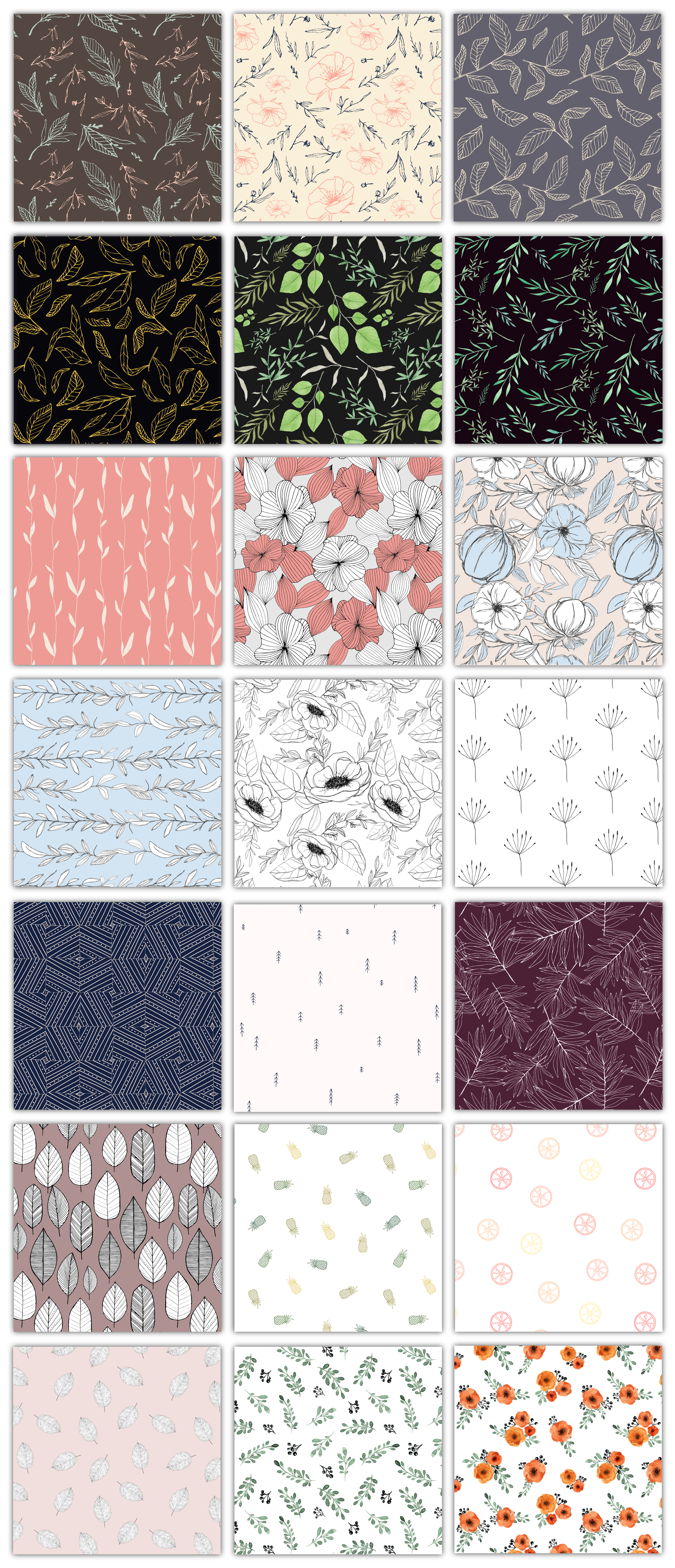 a collection of floral and botanical patterns made for Graphic Pear. All the elements are hand drawn. item