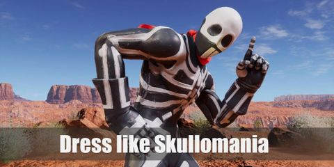 Skullomania dresses up in a full-body black suit with a white skeleton print on it. He also wears a red scarf around his neck and white boots on his feet.