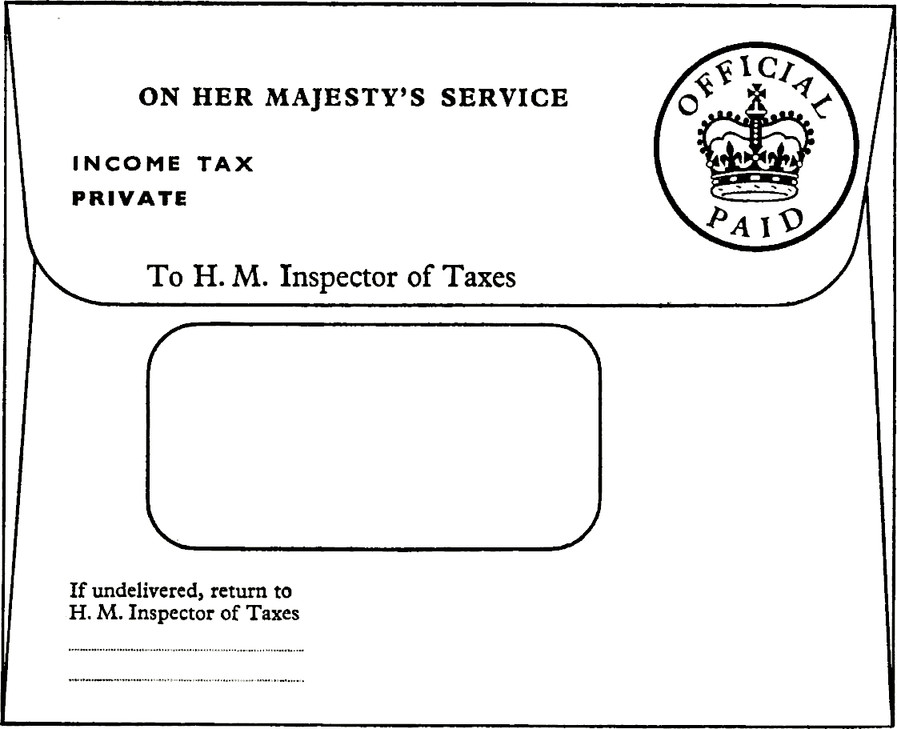 Envelope with title ON HER MAJESTY'S SERVICE. Stamp top right: Official Paid with royal crown. INCOME TAX. PRIVATE. To H.M. Inspector of Taxes. Window into the envelope. If undelivered, return to H. M. Inspector of Taxes, blank field.