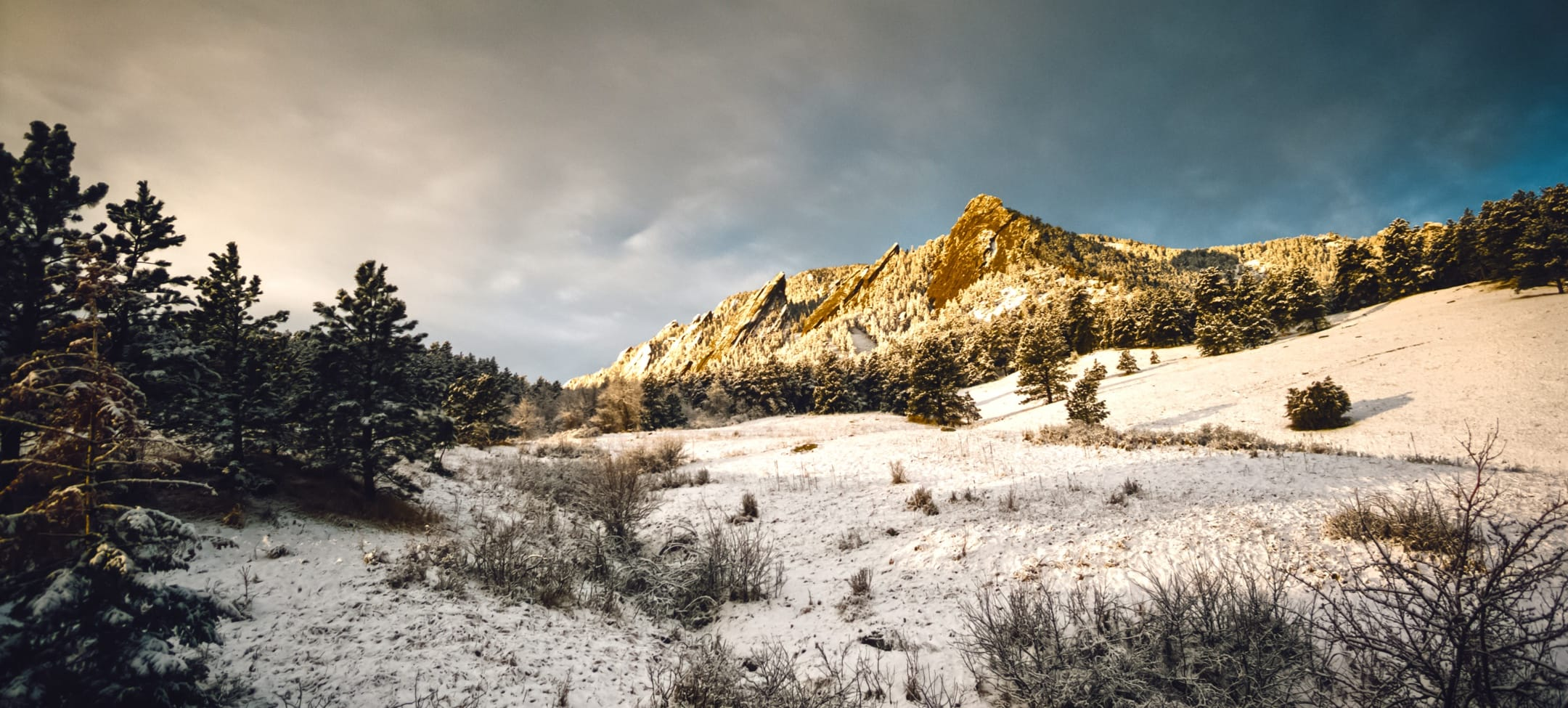 Snowy mountains in Boulder