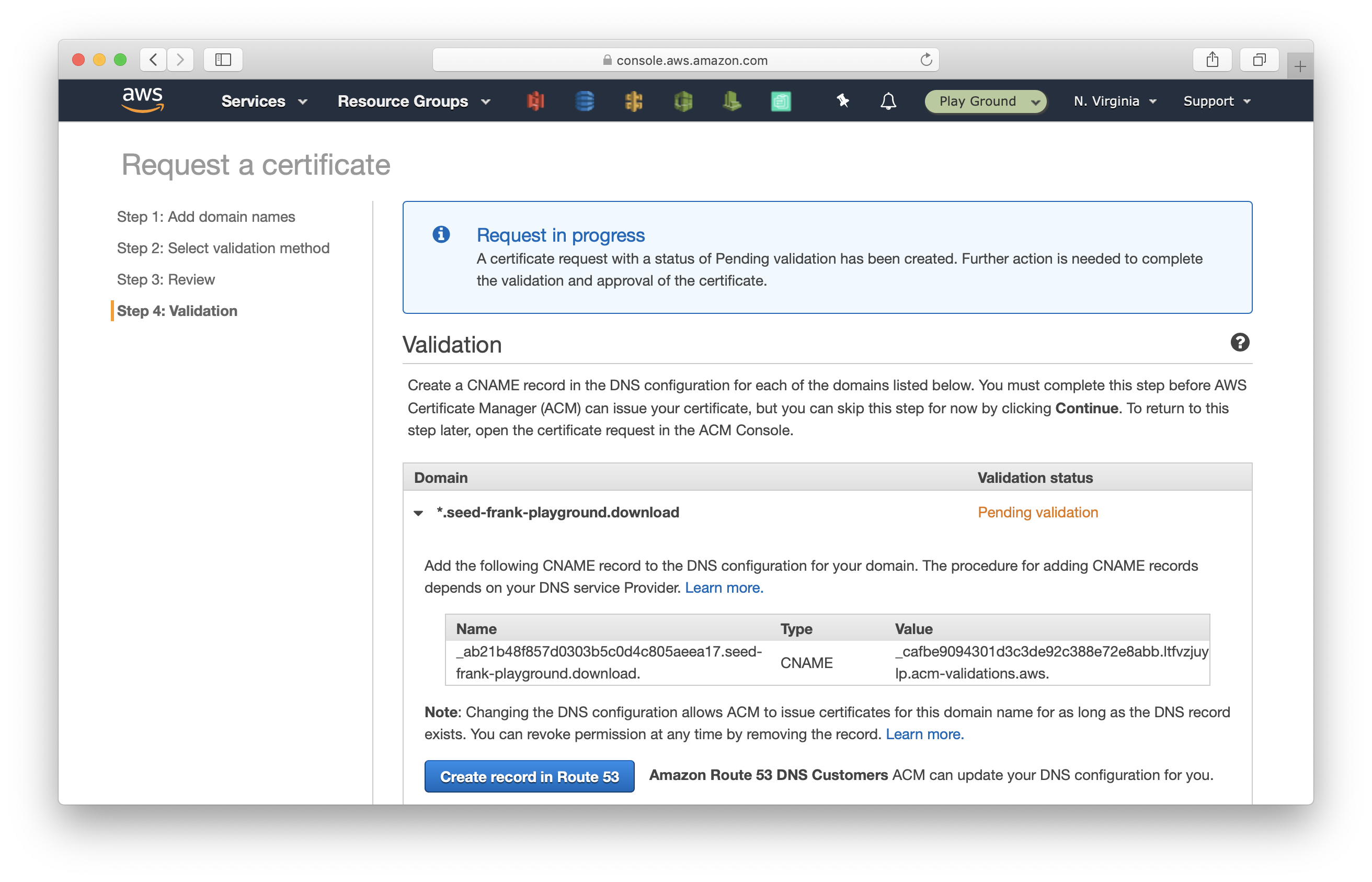 Click Create record in Route 53 in Certificate Manager