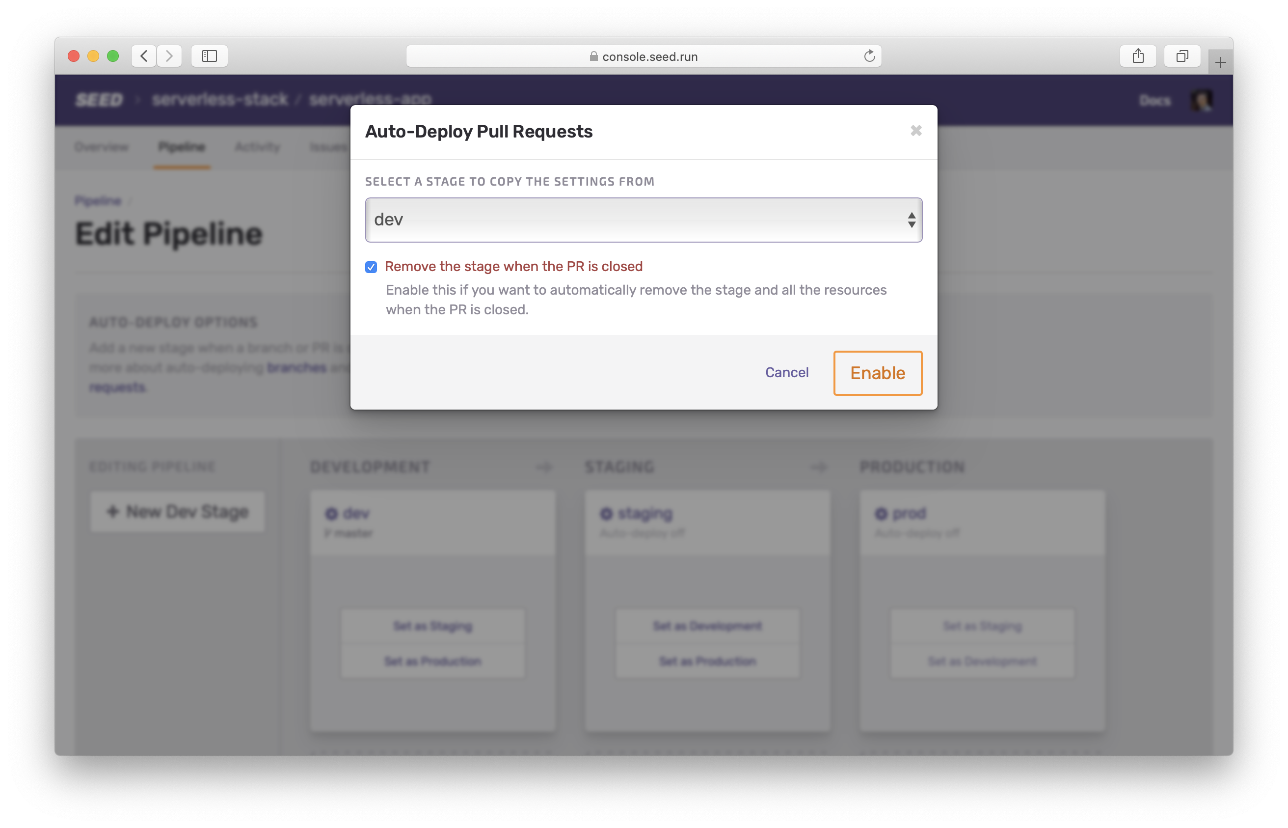 Auto-deploy pull request options