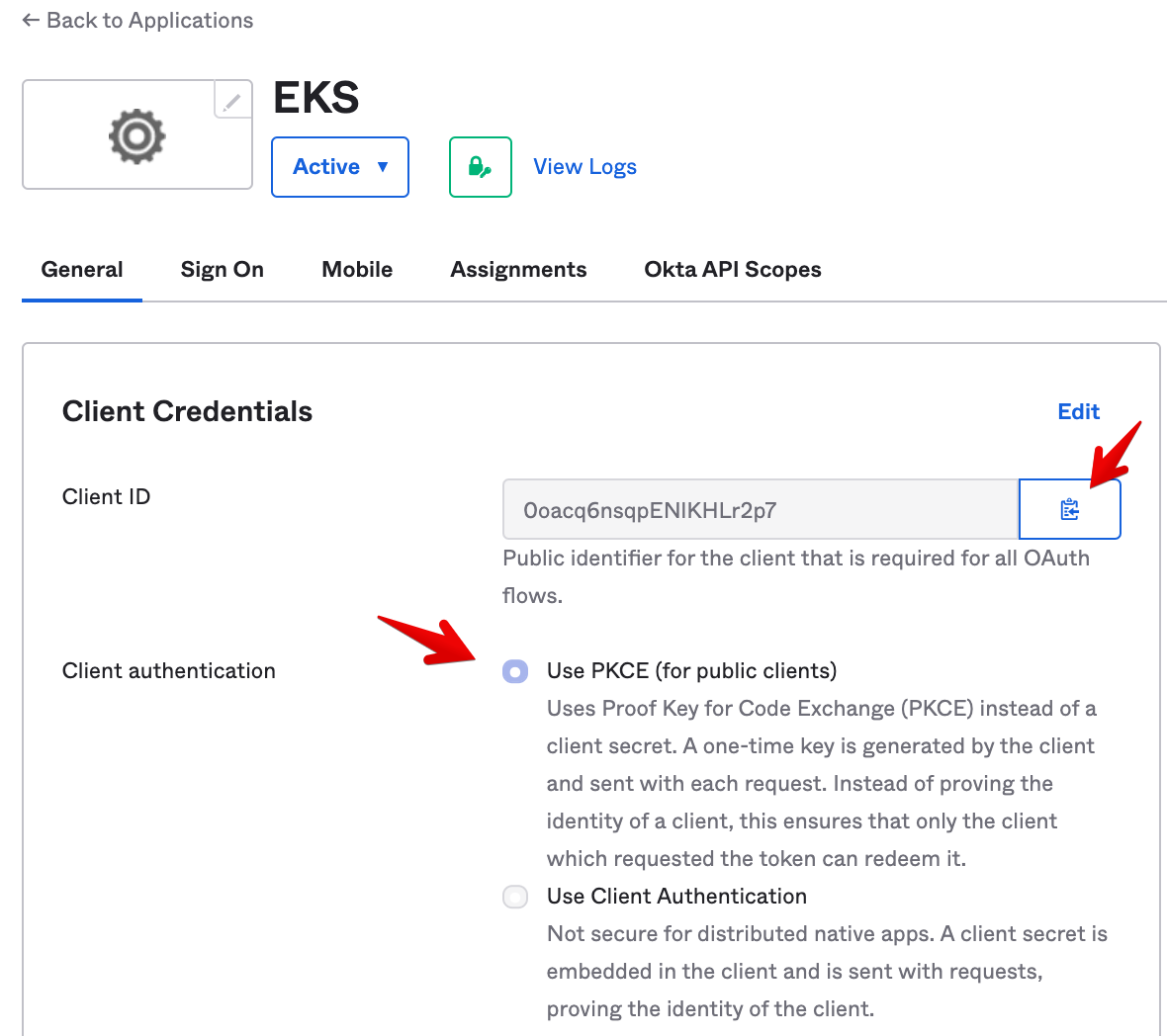 Okta Admin Console - App Configuration - General Tab