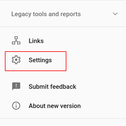 Search Console Website Settings