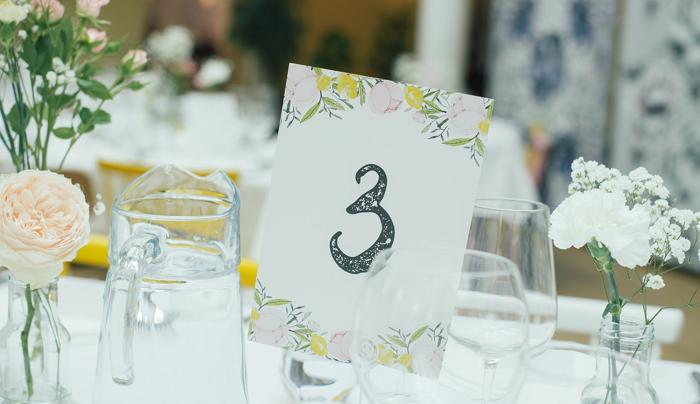 Floral watercolor table number, two sided. item thumbnail