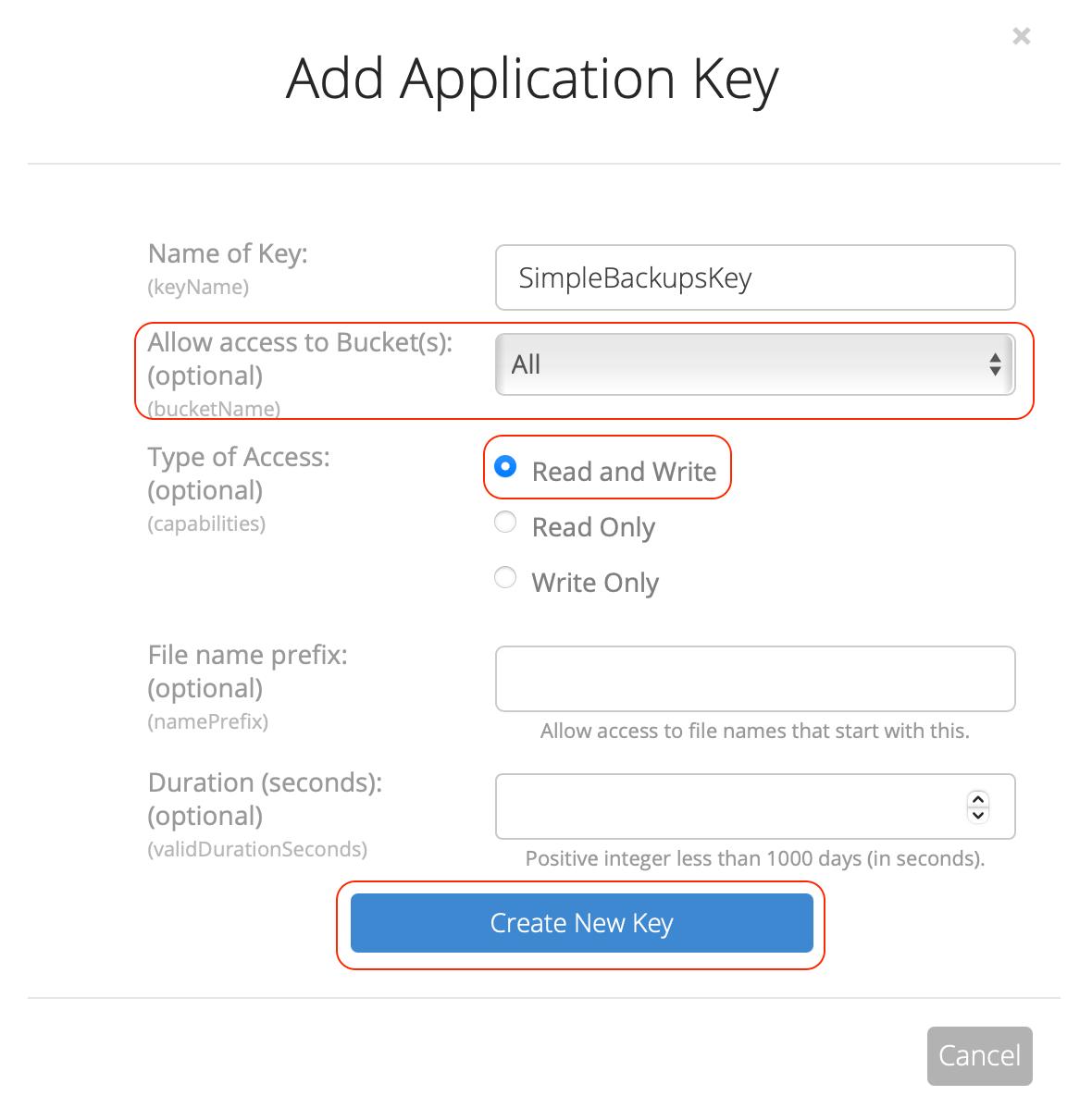 Backblaze app key creation modal