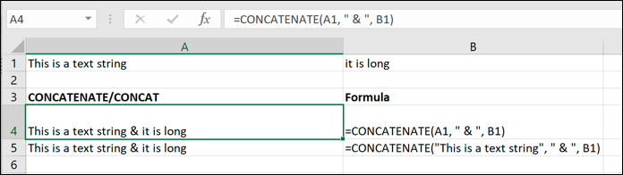 A screen grab from Excel showing how to use the CONCATENATE formula with special characters