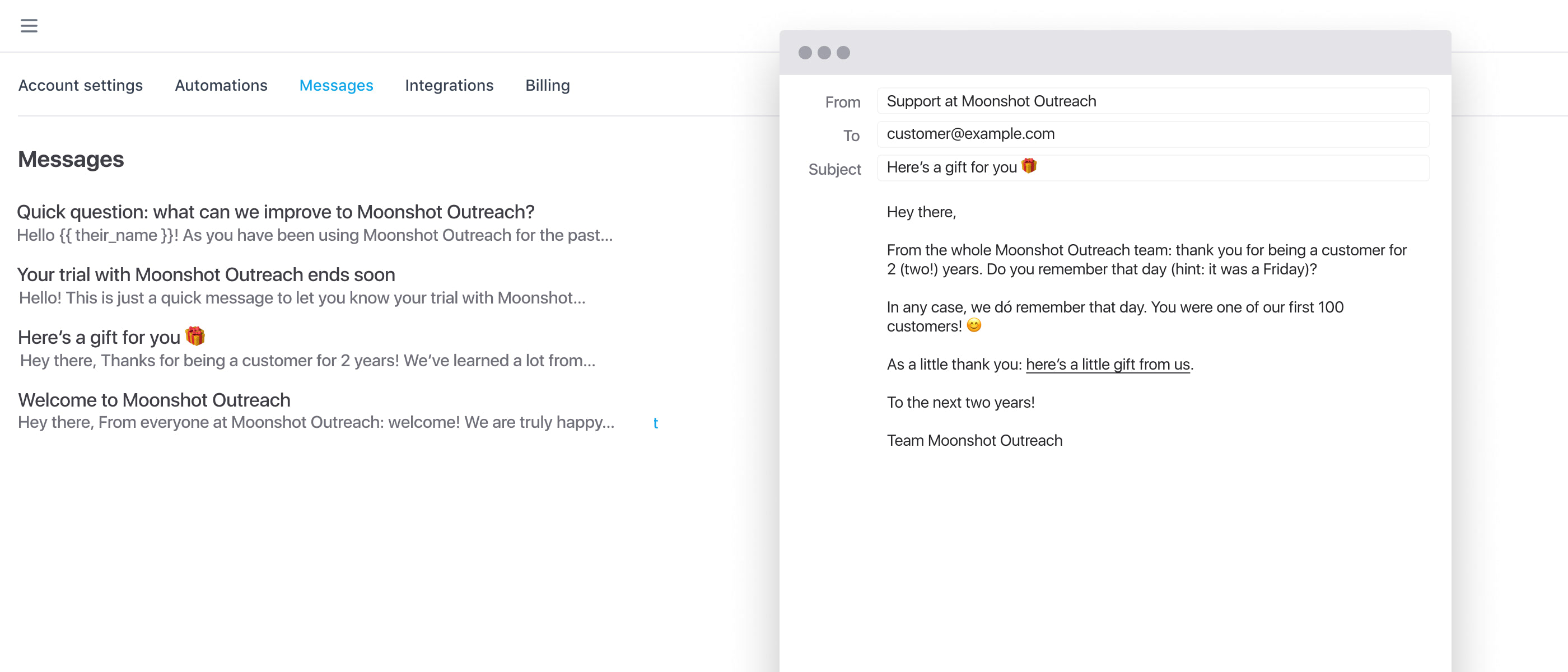 preview of the Seos dashboard showing a list of messages and a preview of one of the messages in a email client