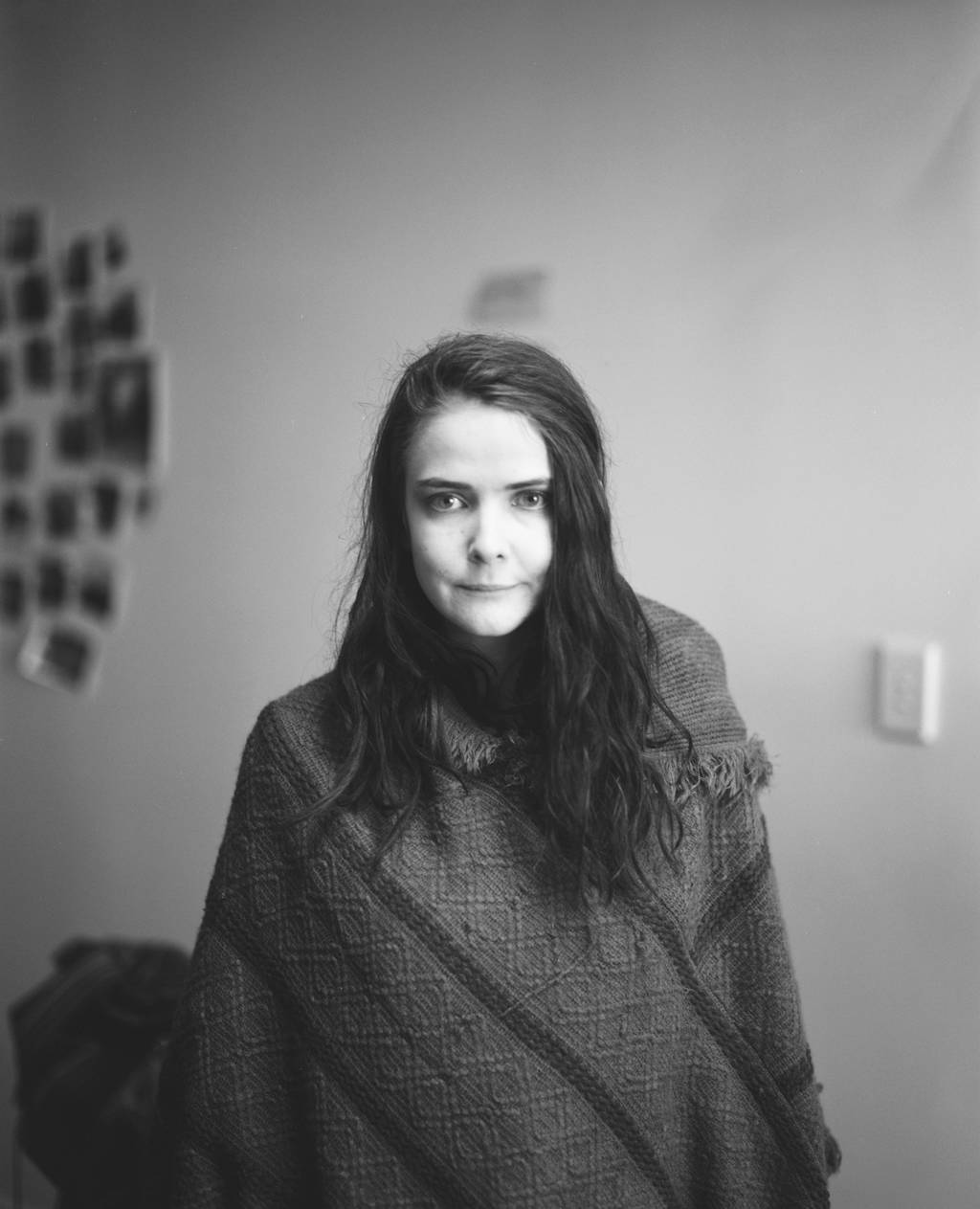 Portrait of a girl in a Ponch (black and white)
