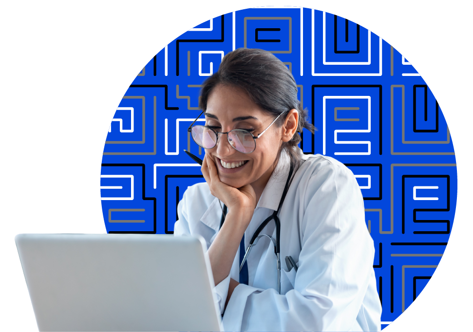 medical professional on laptop with a paubox-branded background pattern