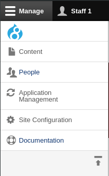 The Admin Toolbar in vertical orientation