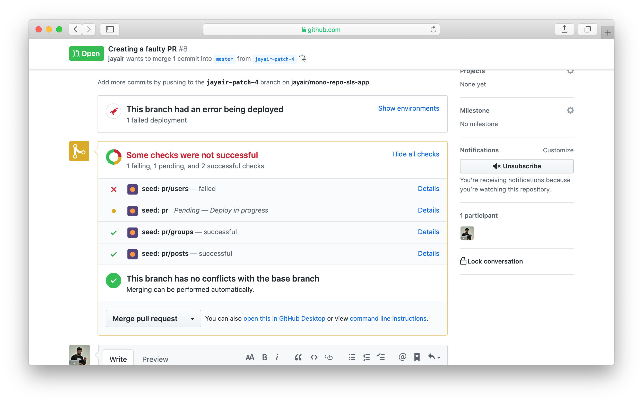 Seed PR building failed in GitHub