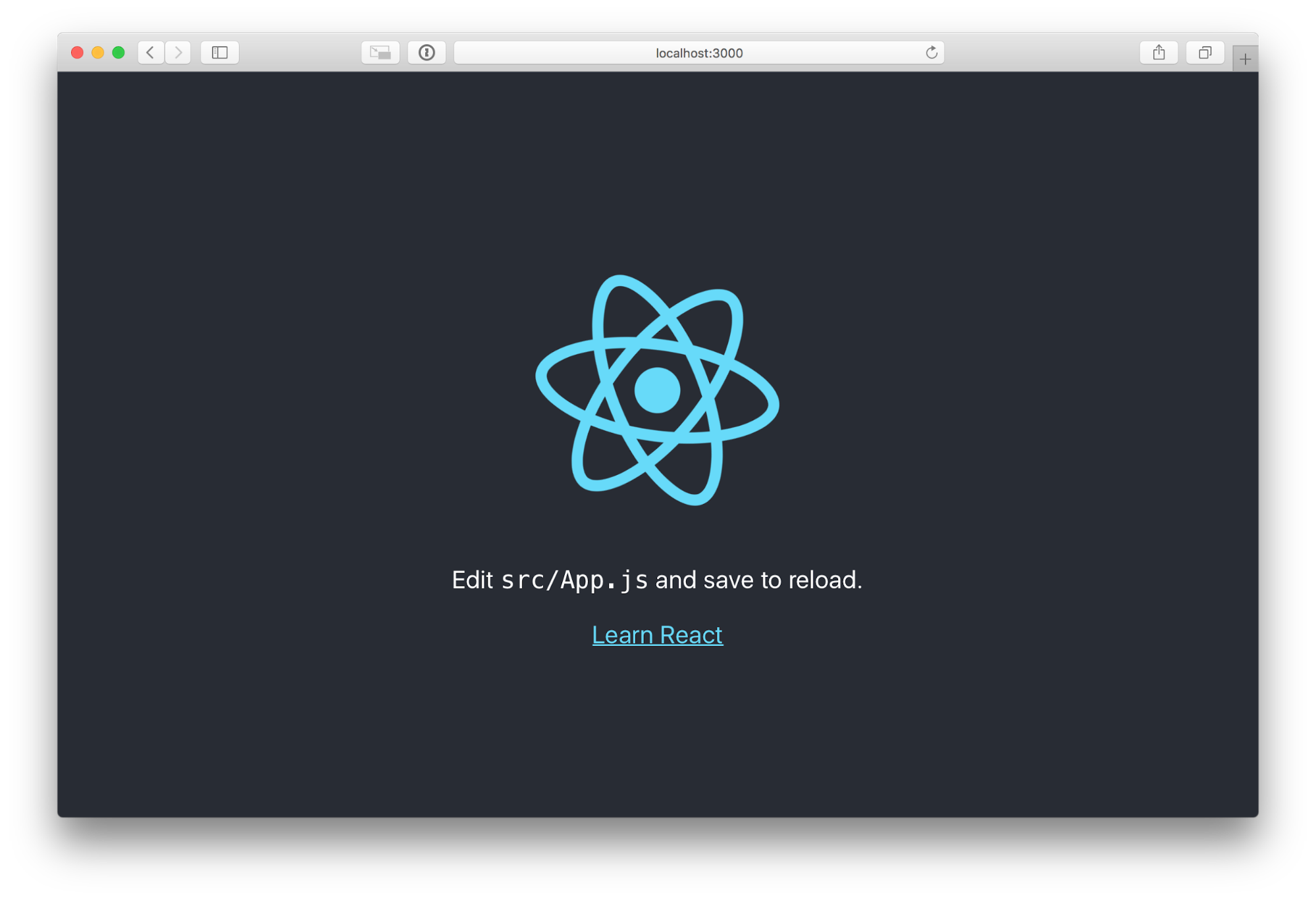 react app first run