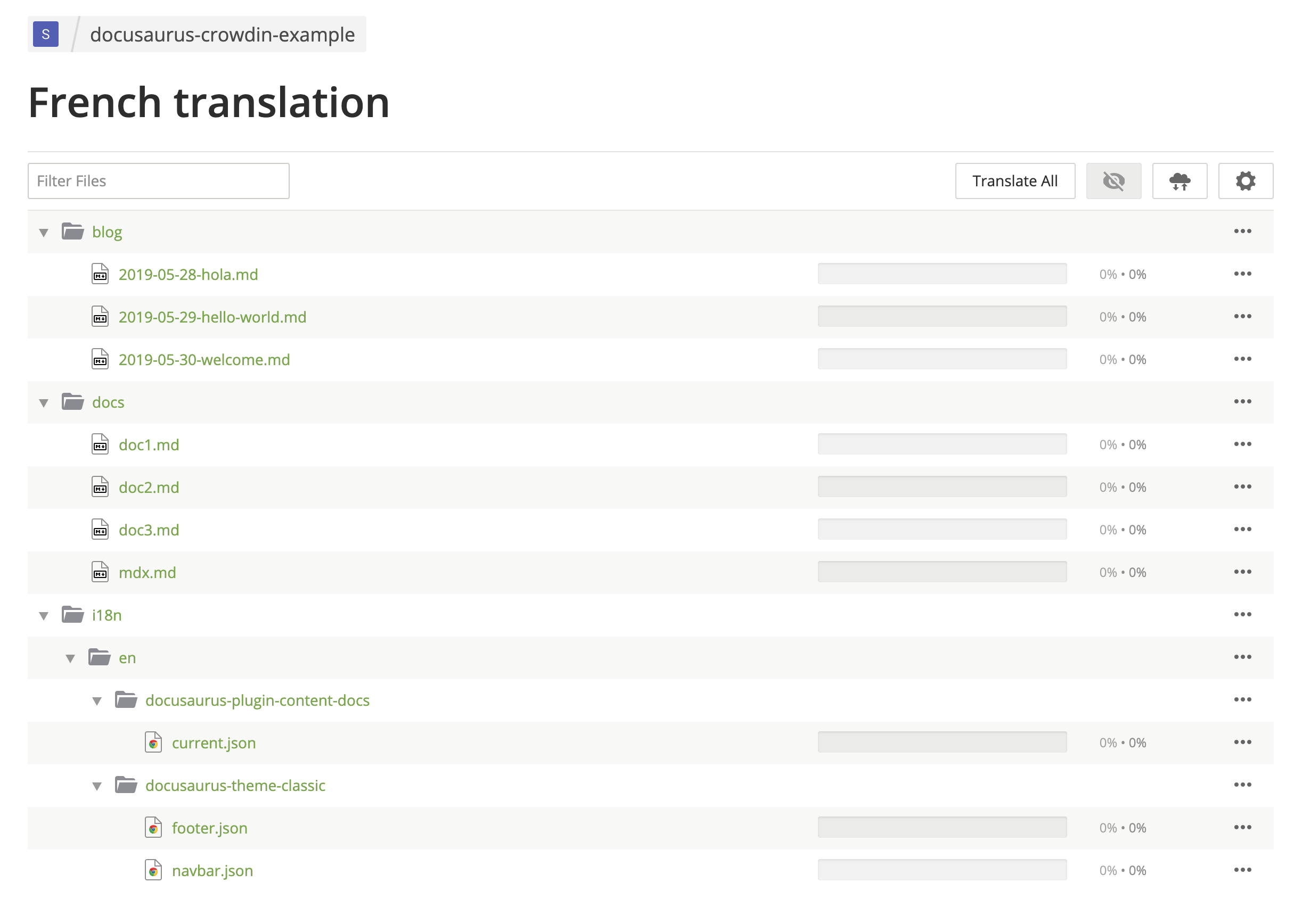 Crowdin UI montrant les fichiers de traduction français