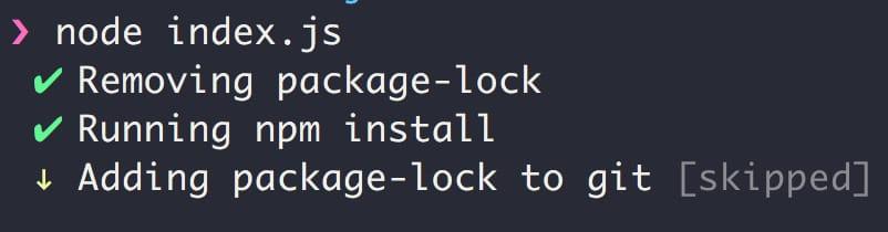 `node index.js` output