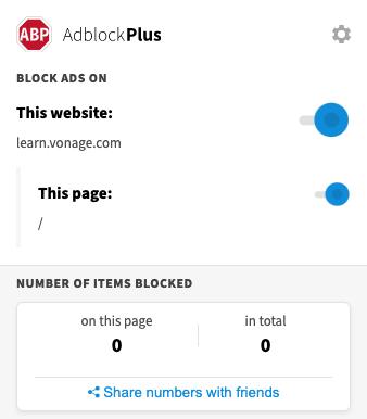Screenshot of AdBlock Plus ignoring the tracker on Vonage Learn