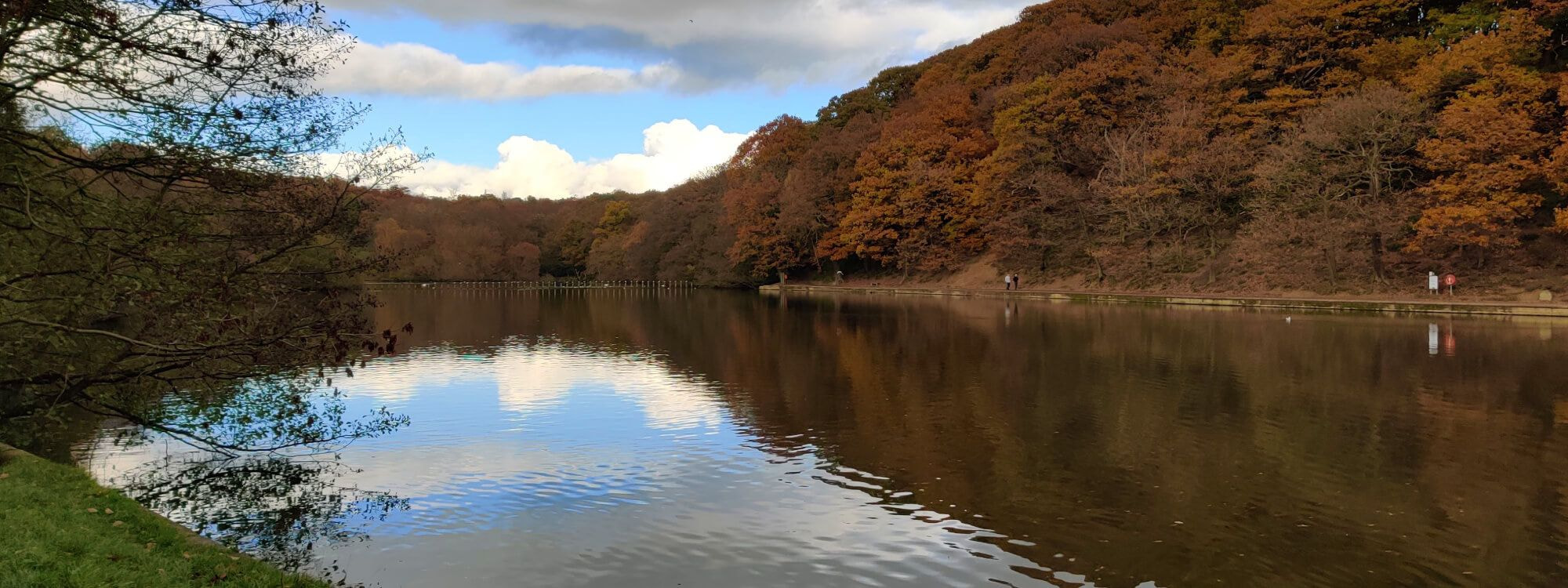 Roundhay Park lake in Autumn with blue sky