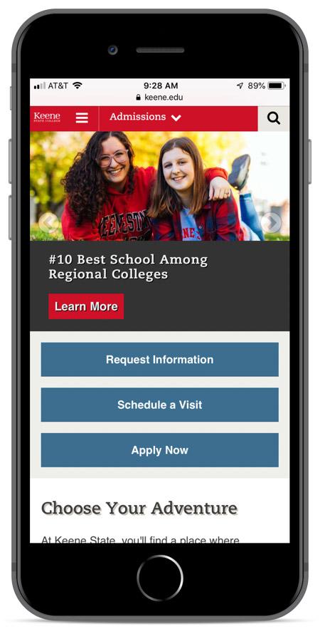 Keene State's homepage as viewed on an iPhone 8