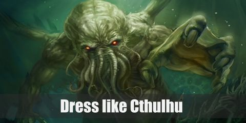 Cthulhu looks very extraterrestrial. He has the main body that looks human with dark, leathery skin.