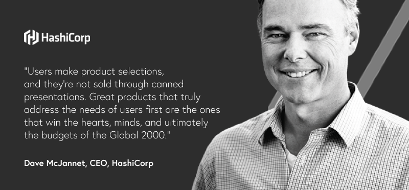 Photo of man with quote text and a logo of a company called HashiCorp