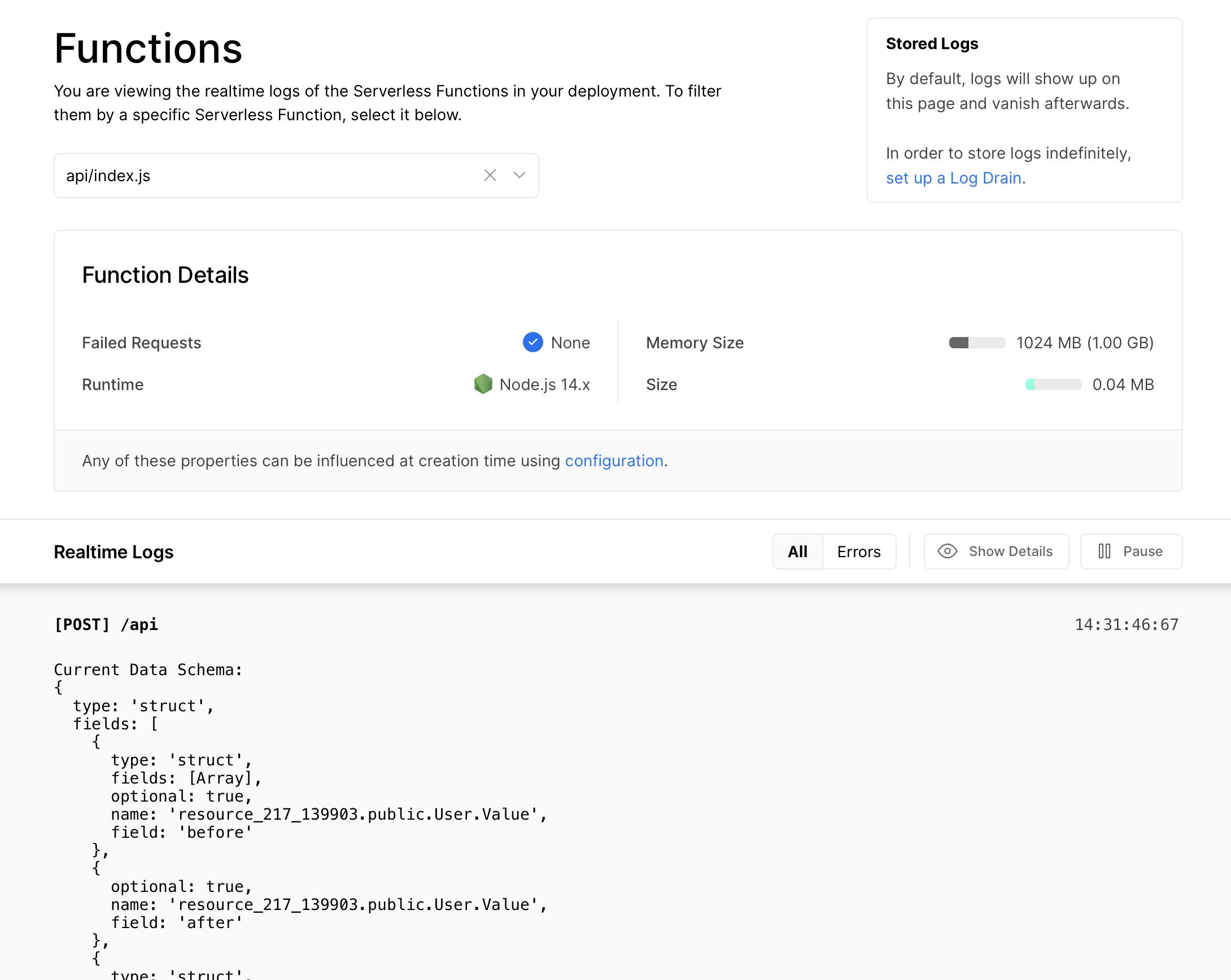 Vercel Function Logs