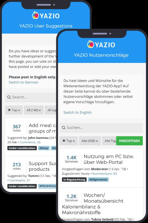 A screenshot of the english feedback board for Yazio
