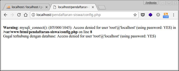 Koneksi PHP dengan MySQL Gagal