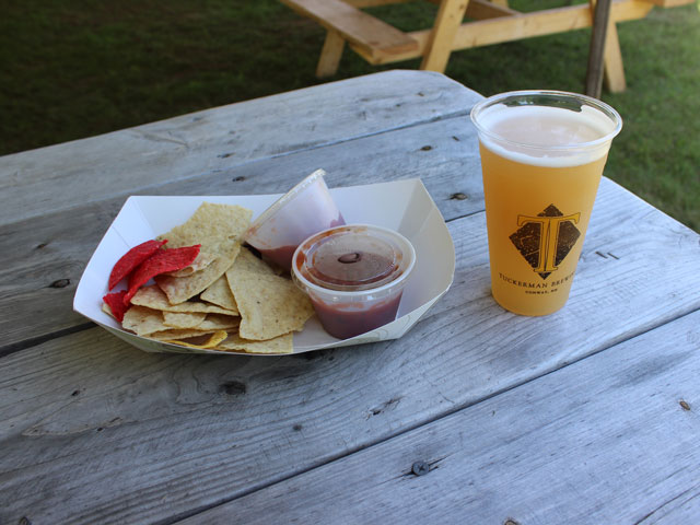 Chips, Salsa, and a Cold Wild River Witbier at Tuckerman's Brewing
