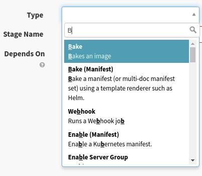 "The stage type menu, selecting ""Bake"""